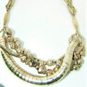 Vintage~Handmade~80's~Necklace Large Alloy Chunky~